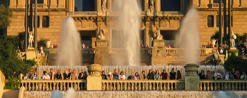 Sightseeing Barcelona: One of the many smaller fountains that make up the Magic fountain of Montjuic.