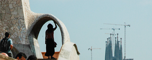 Sightseeing Barcelona, La Pedrera: The roof of the Pedera offers fantastic views of the city and the Sagrada Familia.