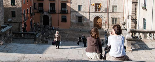 A view from the steps of Girona`s cathedral.