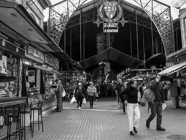 The main entrance to the Boqueria market, just off of the famous Ramblas street.
