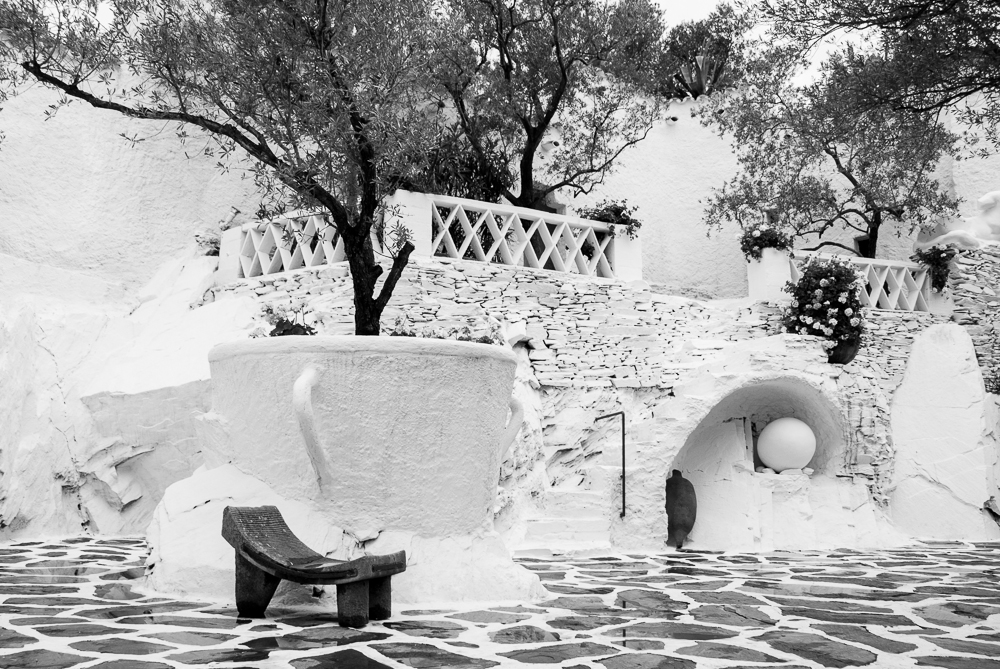 Note the coffee mug flower pot and the egg located in one of the many courtyards inSalvador and Gala Dali's  Costa Brava home.