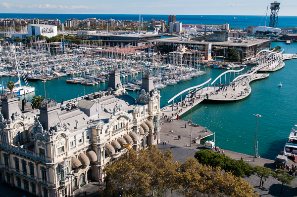 "A view of ""Port Vell"", the Old Port, as seen from a point on Montjuic."