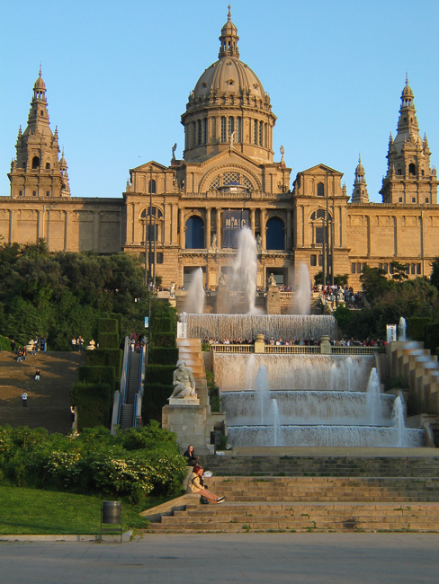 The museum of Catalan Art serves as the backdrop to the Magic fountains and is actually where the fountain begins is cascading journey to the main fountain below.