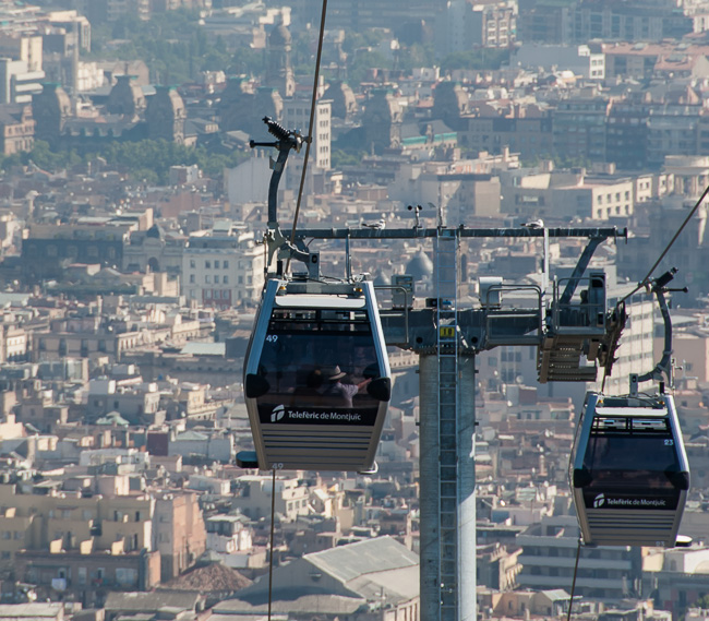 Enjoy a nice ride on the Telerific de Montjuic, a gondola system that takes you to the fantastic views at the mountain´s fort.