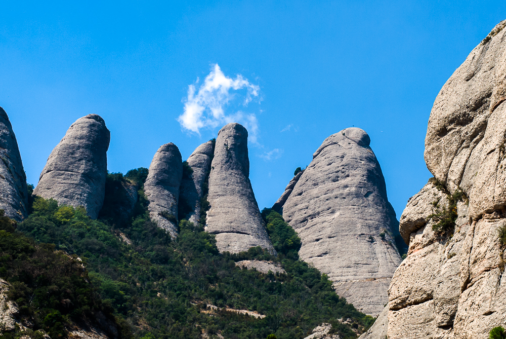 Some of the rock formations that make Montserrat so distinctive, even from a great distance.