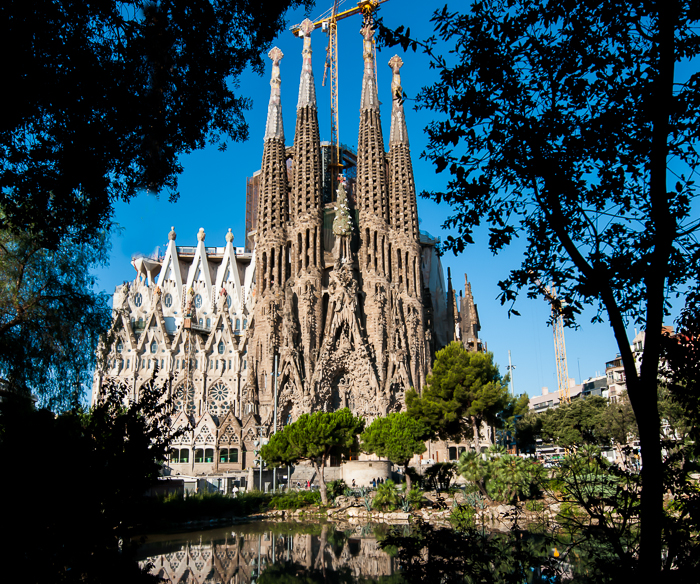 A global view of the Nativity facade of the Sagrada Familia by A. Gaudi.