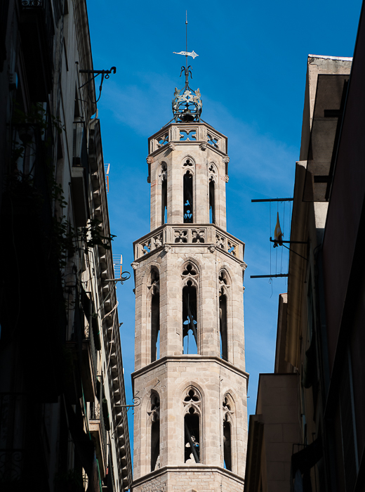 One of Santa Maria del Mar's bell towers that are often visible between the narrow strees of the Born district.