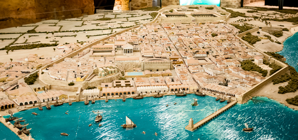 A scaled model of what the Roman city of Tarraco was like. Can you find the coliseum?